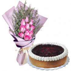 11 Pink Roses Bouquet with Blueberry Cheese Cake