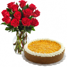 12 Pcs. Roses in Vase with Mango Cheese Cake