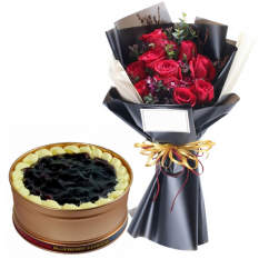 9 Red Roses with Blueberry 3 Cheese Can Cake