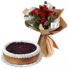 5 Red Roses Bouquet with Blueberry Cheese Cake
