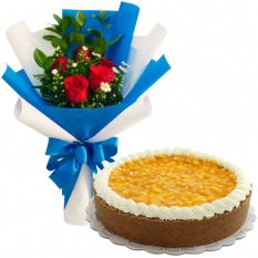 5 Pcs. Roses in Bouquet with Mango Cheese Cake