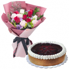 12 Mixed Roses Bouquet with Blueberry Cheese Cake