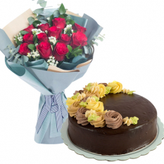 12 Roses Bouquet with Chocolate Cake By Max's
