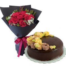 Dozen of Red Roses with Chocolate Cake By Max's