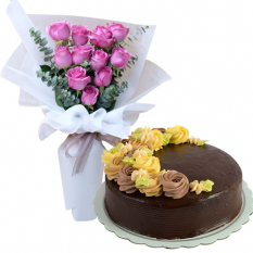 12 Pink Roses with Chocolate Message Cake By Max's