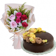 6 Mixed Roses with Chocolate Message Cake By Max's