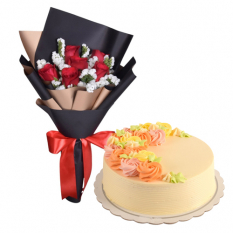 6 Pcs. Red Roses with Vanilla Cake By Max's