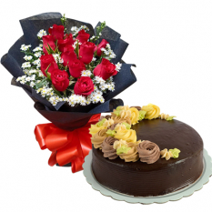 12 Red Roses with Chocolate Cake By Max's