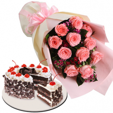 12 Pink Roses with Black Forest Cake