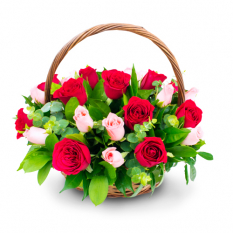 send 12 red and pink roses in basket to manila philippines