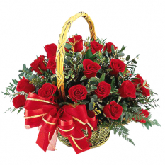 send 2 dozen red roses in basket to manila