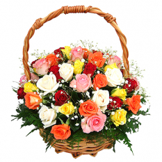 send mixed 24 fresh roses in basket to philippines
