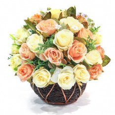 send 2 dozen peach and white roses in basket to philippines