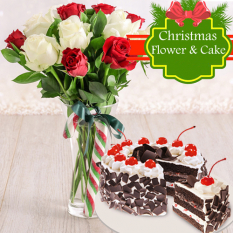 send 12 red and white rose with christmas cake to philippines