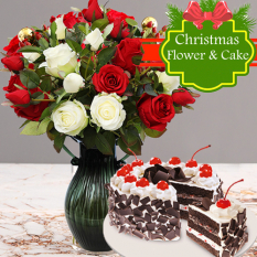send 24 red and white roses with christmas cake to philippines