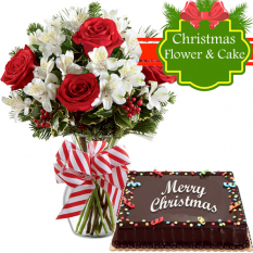send half dozed roses in vase with holiday cake to philippines