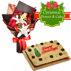 send mixed flower bouquet with holiday cake to manila philippines