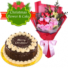 send mixed flower with christmas rocky road cake to philippines