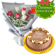 send christmas triple delight cake with mixed tulip to philippines