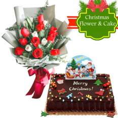 send roses and tulip with xmas chocolate cake to philippines