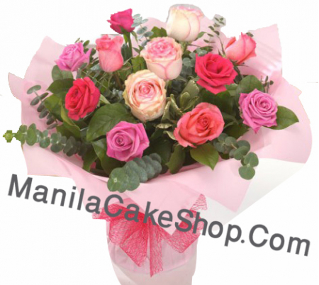12 pieces mix rose in vase to manila