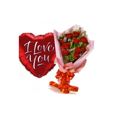 12 Red Roses with I Love You Balloon