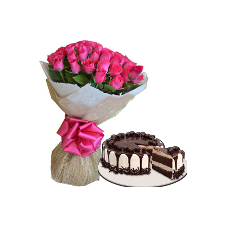 24 Pink Roses with Red Ribbon Cake