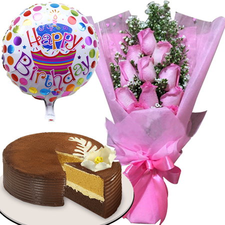 send pink roses balloon with cake to manila