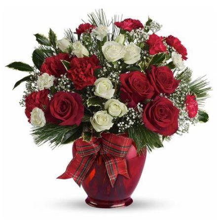 send xmas cutie red rose in vase to manila
