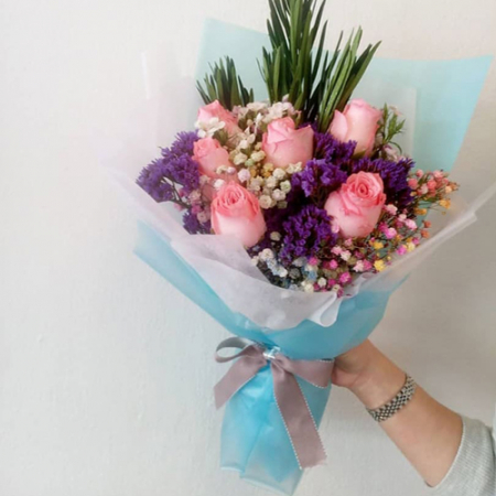 send half dozen pink roses in bouquet to manila