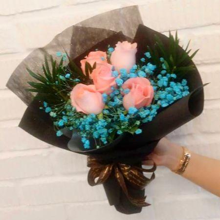 send 5 stems pink ecuadorian roses bouquet to manila