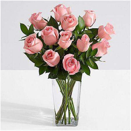 valentines 12 pink roses in vase to manila
