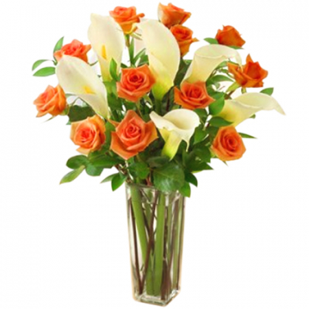 send roses and calla lily in vase arrangement to philippines