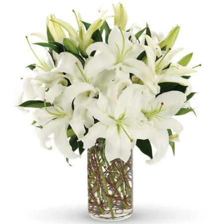 send 3 stem white lilies in vase to manila