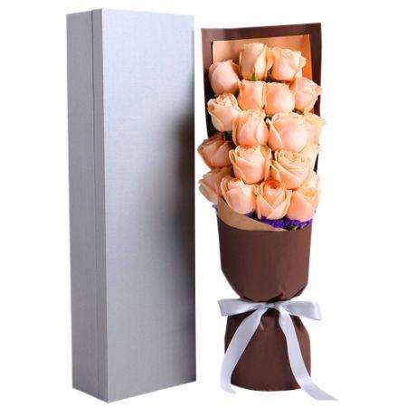 send 16 pcs peach roses in box to manila