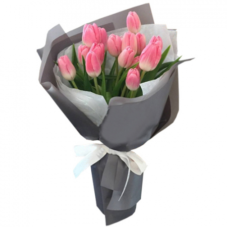 send 12 pcs fresh pink tulips in bouquet to manila