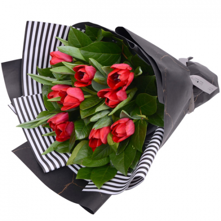 send 1 dozen fresh red tulips in a bouquet to manila