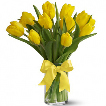 send 12 fresh yellow tulips in a glass vase to manila