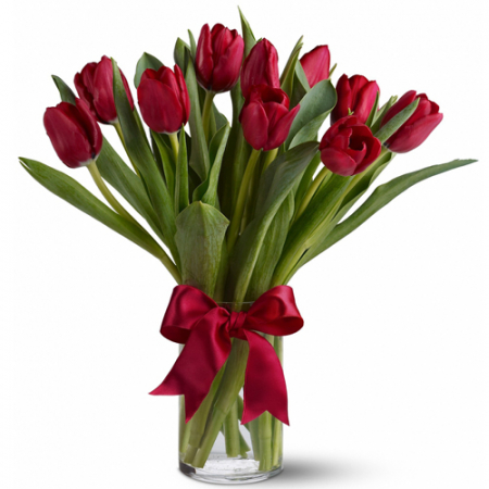 send 1 dozen fresh Holland red tulips in vase to manila