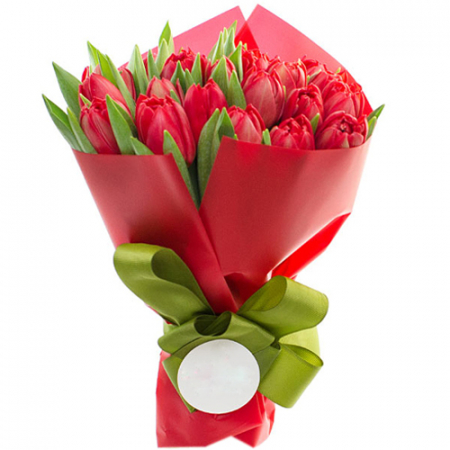 send 18 fresh yellow tulips in a bouquet to manila