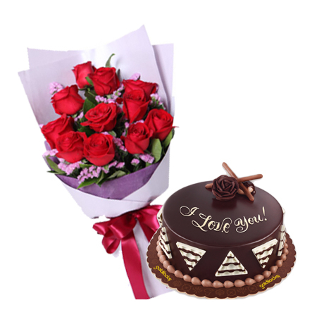 12 Red Roses Bouquet w/ Chocolete Cake