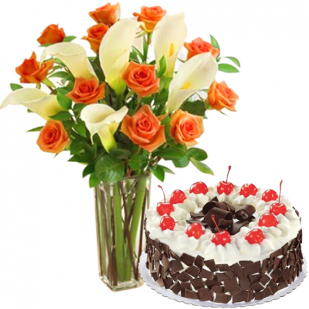 Roses & Calla Lily in Vase with with Black Forest Cake