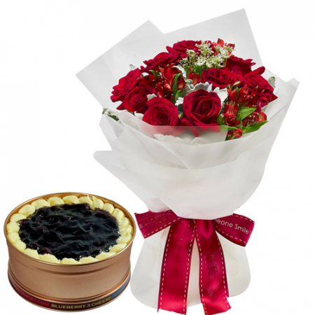 24 Red Roses with Blueberry 3 Cheese Can Cake