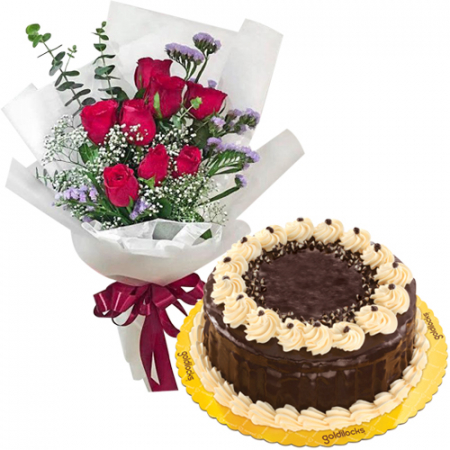 9 Red Roses with Rocky Road Cake