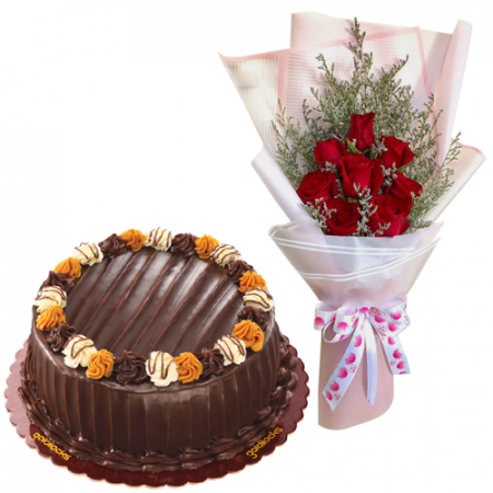 8 Red Roses with Choco Caramel Cake