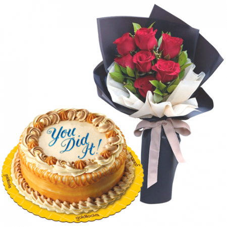 7 Red Roses with Luscious Caramel Cake