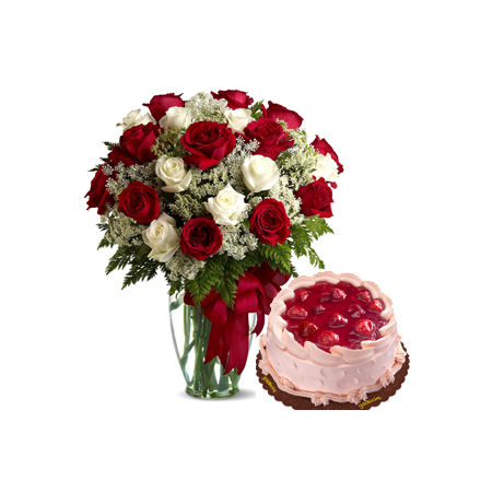 24 Red & White Roses with Strawberry Delight Cake