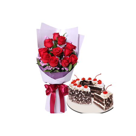 12 Red Roses with Black Forest Cake by Red Ribbon