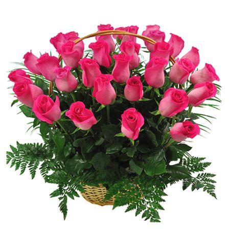send 24 fresh pink roses in basket to manila