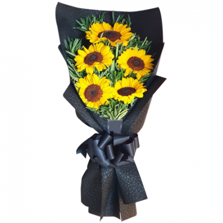 delivery 5 pcs. sunflower in bouquet to manila